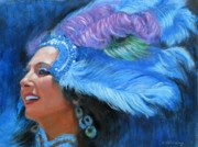 Mardi Gras Painting Prints - Mardi Gras Girl Print by Sue Halstenberg