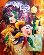 Canal Street Paintings - Mardi Gras Images by Diane Millsap