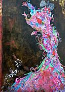 Curvy Mixed Media Prints - Mardi Gras in Bloom Print by Anahi DeCanio