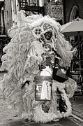 Kathleen Prints - Mardi Gras Indian in Pirates Alley in black and white Print by Kathleen K Parker