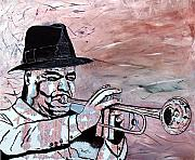 Trumpet Painting Originals - Mardi Gras Jazz by Richard Roselli
