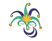 Smiley Faces Prints - Mardi Gras Jester Print by Alycia Sears