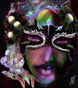 Vivid Colour Mixed Media Posters - Mardi Nocturne Poster by Rosy Hall
