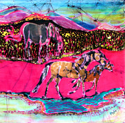 Colorful Fabric Tapestries - Textiles Metal Prints - Mare and Foal Metal Print by Carol Law Conklin