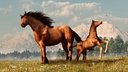 Grassy Field Posters - Mare and Foal Poster by Daniel Eskridge