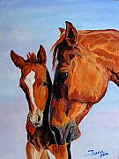 Mare And Foal Print by Jana Goode