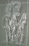 Animals Glass Art Originals - Mare and Foal by Robin Hewitt