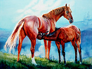 Wildlife Artist - Mare With Foal by Hanne Lore Koehler
