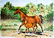 Mare Paintings - Mare with Foal by Zaira Dzhaubaeva