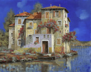 Lakescape Framed Prints - Mareblu Framed Print by Guido Borelli