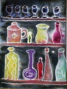 Jugs Prints - Margarets Bottles Print by Charlene White
