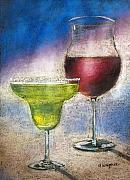Wine Glasses Pastels Posters - Margarita And A Glass Of Wine Poster by Arline Wagner