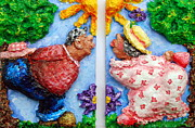 Floral Reliefs Originals - Marge and Berts First Kiss by Alison  Galvan