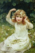 Little Girl Painting Posters - Marguerites Poster by Frederick Morgan