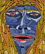 Outsider Glass Art Posters - Maria - Fantasy Face No.12 Poster by Gila Rayberg