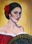 Gold Earrings Painting Framed Prints - Maria Callas As Carmen Framed Print by Janet Silkoff