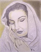 Maria Drawings Framed Prints - Maria Callas  La Divina Framed Print by Oscar Arauz