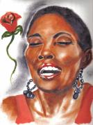 Celebrity Portraits Painting Originals - Maria Howell the Singer by Torben Gray