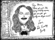 Thedailydose.com Drawings Originals - Maria Shriver Kennedy Card by Yasha Harari