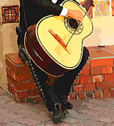 Street Performers Prints - Mariachi Guitarron  Print by Cheryl Young