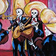 Day Of The Dead Painting Posters - Mariachi III Poster by Sharon Sieben
