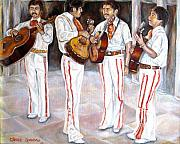 Mexicano Painting Metal Prints - Mariachi  Musicians Metal Print by Carole Spandau