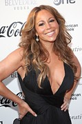 Plunging Neckline Framed Prints - Mariah Carey At Arrivals For Apollo Framed Print by Everett