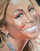 Sexy Female Pop Singers Painting Originals - Mariah Carey by Timothe Winstead