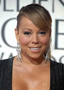 Diamond Earrings Framed Prints - Mariah Carey Wearing Chopard Earrings Framed Print by Everett