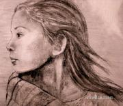 Pencil Native American Drawings - Mariah Pencil Study by Susan Bergstrom