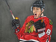 Nhl Drawings Prints - Marian Hossa Print by Brian Schuster