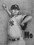 Series Drawings Metal Prints - Mariano Rivera AKA Mr AUTOMATIC Metal Print by Dan Haraga