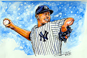 Rivera Drawings Framed Prints - Mariano Rivera Framed Print by Dave Olsen