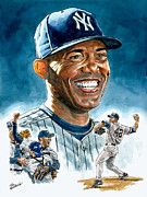 Yankees Painting Prints - Mariano Print by Tom Hedderich