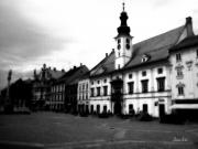 Backlit Prints Prints - Maribor Square Black and White Print by Marko Mitic