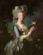 Female Portrait Paintings - Marie Antoinette by Elisabeth Louise Vigee Lebrun