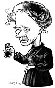 Caricature Portraits Posters - Marie Curie, Caricature Poster by Gary Brown