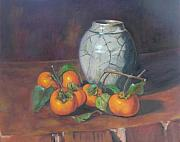 Persimmons Posters - Maries Persimmons  Poster by Gloria Smith