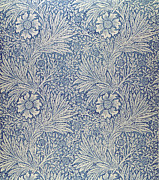 Wallpaper Tapestries - Textiles Posters - Marigold wallpaper design Poster by William Morris