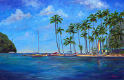 Caribbean Sea Painting Metal Prints - Marigot Bay St. Lucia Metal Print by Jeff Pittman