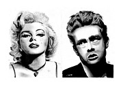 James Dean Drawings Posters - Marilyn and James Poster by Josh Crawford