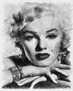 Celebrity Digital Art Framed Prints - Marilyn Framed Print by Anthony Caruso
