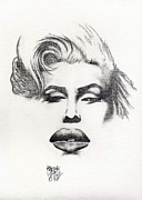 Graphite Drawings Originals Art - Marilyn by Audrey Snead