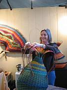 Baskets Tapestries - Textiles - Marilyn Evans Weaving At The Celebration by Marilyn Evans