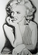 Actresses Drawings Framed Prints - Marilyn Framed Print by Liza Cook