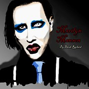 Suspenders Digital Art Posters - Marilyn Manson Portrait Poster by Derek Rickard