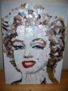 Mosaic Portrait Glass Art - Marilyn by Mitch Brookman