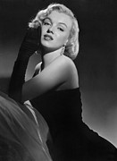 Black-and-white Metal Prints - Marilyn Monroe Metal Print by American School