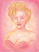 Celebrity Pastels Framed Prints - Marilyn Monroe Framed Print by Cassandra Geernaert