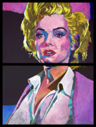 Movie Stars Painting Prints - Marilyn Monroe Dyptich Print by David Lloyd Glover